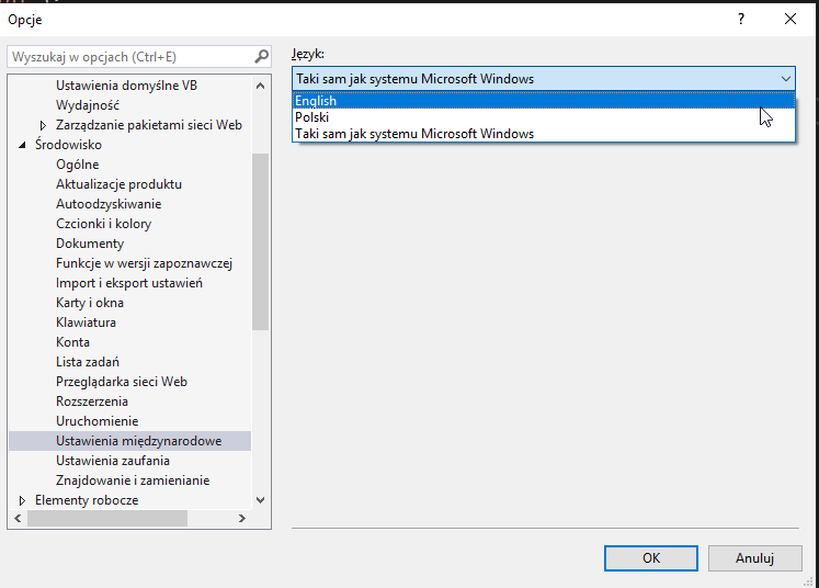 How to change language in Visual Studio 2019 (after installation